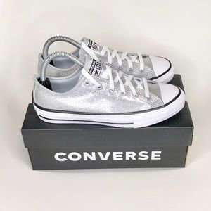 New Converse glitter low top silver youth shoe